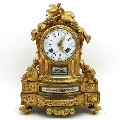 Antique Napoleon III Pendulum mantel Clock ormolu Bronze Sèvres Porcelain - 19th