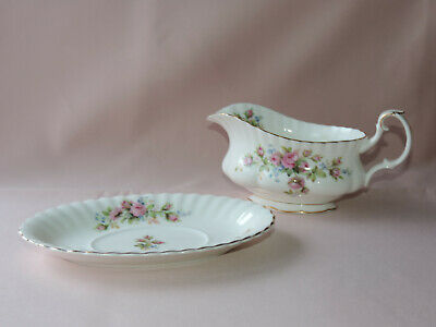 "zweiteilige Sauciere  Royal Albert England  ""Moss Rose""  Bone China Porzellan"