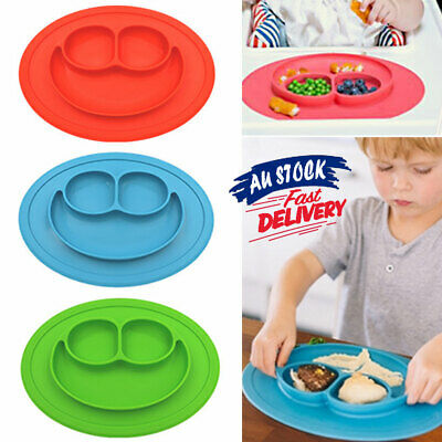 Silicone Suction Tray Cute Food Placemat Mat Bowl Happy Kids Plate Baby Table
