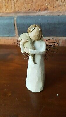 Willow Tree Angel Of Friendship Figurine Ornament Gift Girl With Dog