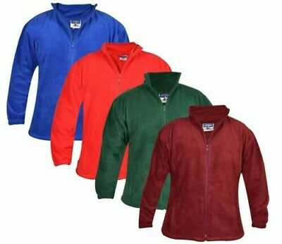 Mens Polar Fleece Jacket Full Zip Long Sleeve Winter Elasticated Cuffs Coat