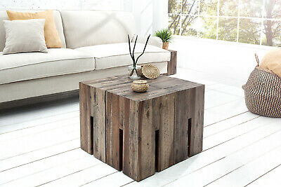 Stool Wooden Acacia Natural Stained Sitting Side Table Driftwood Look