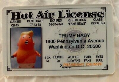 Trump Baby ID novelty Drivers License MAGA Hot Air President Donald Impeachment