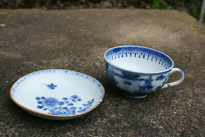 Chinese Porcelain Hand Painted Blue & White Cup & Plate