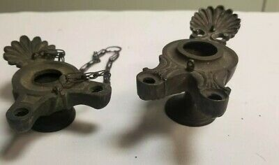 Antique 19Th C. Roman Pompeii Greek Bronze Grand Tour Oil Lamps Palmetto Leaf...