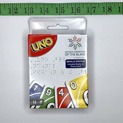 Uno Braille Edition Card Game National Federation of the Blind New Mattel