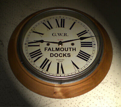 Great Western Railway GWR Victorian Style Wooden Clock, Falmouth Docks Station