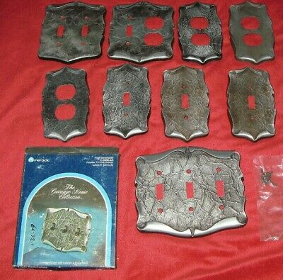 Vintage Lot of 9 Amerock SILVER Carriage House Outlet Light Switch Cover Plates