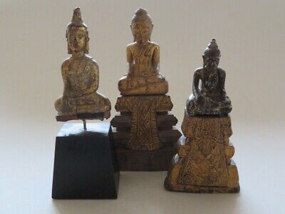 3 Antique Thai Gilt Gilded Wood Seated Buddhas 18Th/19Th Century ---- No Reserve