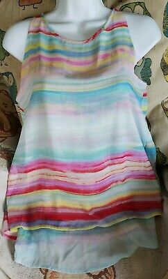 Women Plus 1x 2x 3x Lined Tulle Layered Green Swing Tank Top Blouse Ruby Rd