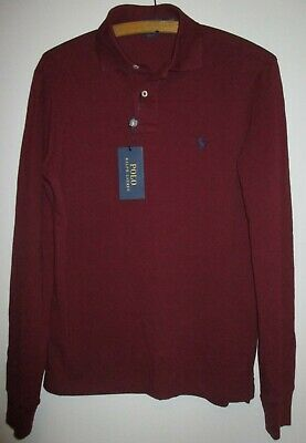 Mens Dark Red Long Sleeved Polo Shirt By Ralph Lauren Size Sp Slim Fit Bnwt