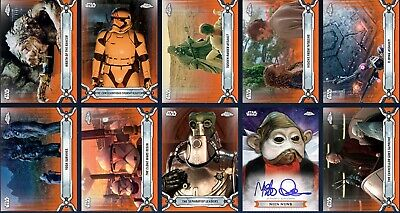 Topps Star Wars Card Trader Chrome Legacy Orange Base Mixed Lot of 9 Wave 2