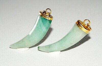 2Pc Chinese Jadeite Jade Tusk Motif Carving w. Gold Plated Bail 1st Lot (IMa)#17