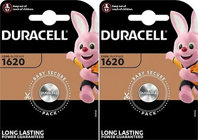2 X Duracell CR1620 3V Lithium Button Battery Coin Cell DL/CR 1620 Expiry 2027