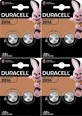 8 X Duracell CR2016 3V Lithium Button Battery Coin Cell DL/CR 2016 Expiry 2028