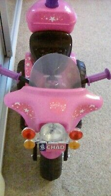 Pink Chad Valley 6V electric Ride on Police Bike rrp £50 Merthyr Christmas