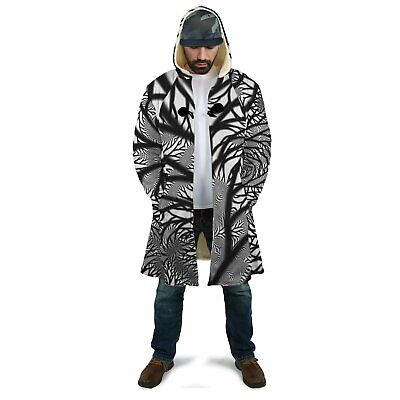 Black and White Fractal Sherpa Dream Cloak