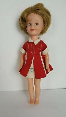 "Vintage 1963 Deluxe Reading Corporation *PENNY BRITE DOLL*  8"" Red dress"