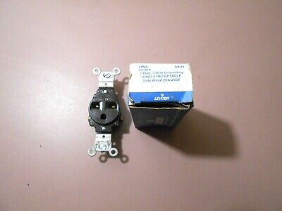 Leviton 5821 Brown 2 Pole 3 Wire Single Receptacle 20A-250V