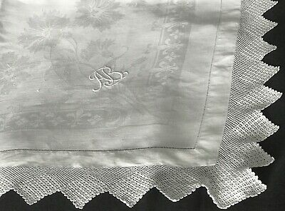 Antique Irish Linen Damask Supper Cloth, Filet Crochet, Hem-Stitching, Monogram