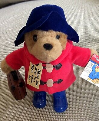"Classic Paddington Bear soft toy RARE RED COAT Boots and Suitcase - 7.5"" plush"