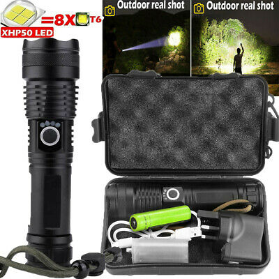 900000Lumens Super Bright XHP50 Zoom Flashlight LED Rechargeable Torch Headlamp