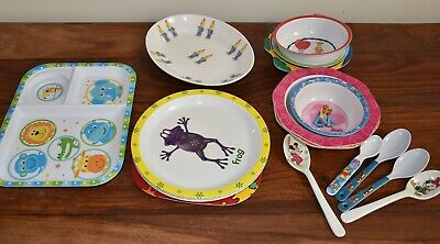 Assorted Kid's Plates, Bowls & Spoons - 18 Items - EUC