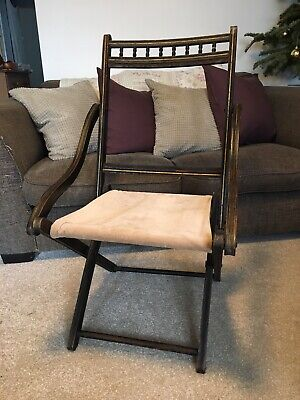 Antique Old Folding Campaign Chair Victorian