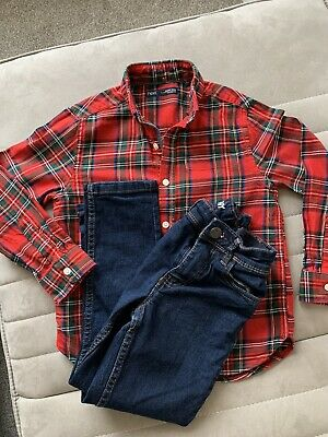 Boys Next Skinny Jeans & Tartan Shirt Immaculate £30