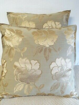 £12.99 For Pair Of  Extra Large Giant Cushions Gold On Beige