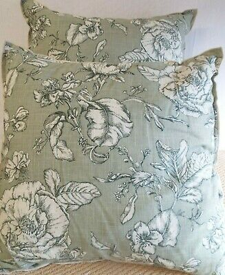 £12.99 For Pair Of  Extra Large Giant Cushions Ivory Floral On Soft Green
