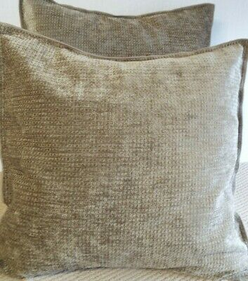£14.99 For Pair Of  Extra Large Giant Cushions Heavy Beige Chenille Velvet