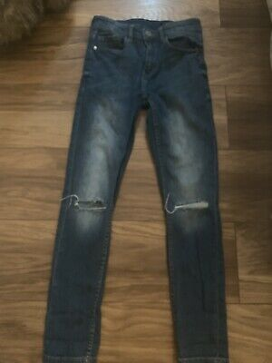 Boys next Mid Blue Ripped jeans Age 13Years