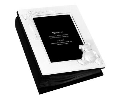 Photoalbum Baby Photo Book Silver Plated with Black Sides for 100 Photos Bear