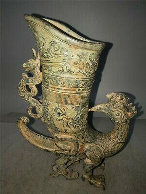 """11.81"""" Collection Chinese antique bronze Handmade phoenix Wine Glass cup"""