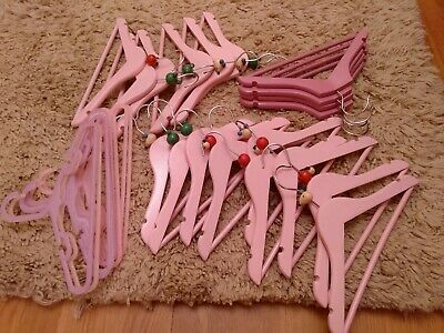 Childrens Coat Hangers Wood & Plastic Pink With Animal Heads mouse frog ladybird