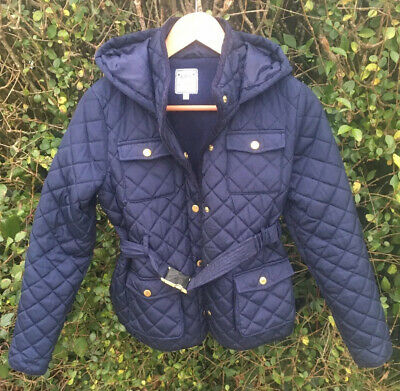 ❌M&S GIRLS WINTER NAVY QUILTED COAT JACKET with HOOD 11-12 YEARS WARM EX.COND