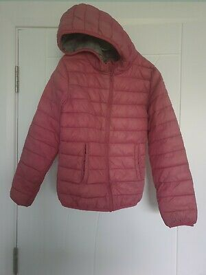 Girls NEXT pink padded lined hooded jacket age 10 years