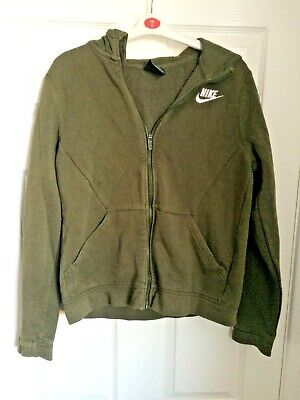 Nike Khaki Green Girls Zip Fastening Hoodie Sweatshirt 13-15 Years
