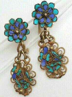 antique Chinese kingfisher feather floral earrings Tian Tsui Gilded Sterling