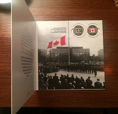 2015 Canada 50th Anniversary of the Canadian Flag Card with two 25 cent coins