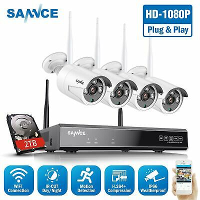 SANNCE 1080P 8CH NVR Wireless Outdoor Security IP Camera System Email Alert 2TB