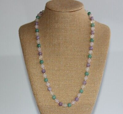 Vintage Chinese Green & Lavender Jade, Pink Quartz Round Bead Beaded Necklace