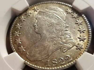 1822/1 Capped Bust Silver Half Dollar, NGC AU53, tough over date   INV12   G1236