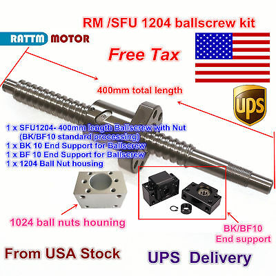 【US Stock】RM/SFU1204 400mm Ballscrew end machine +BK/BF 10 Support & Nut CNC Kit