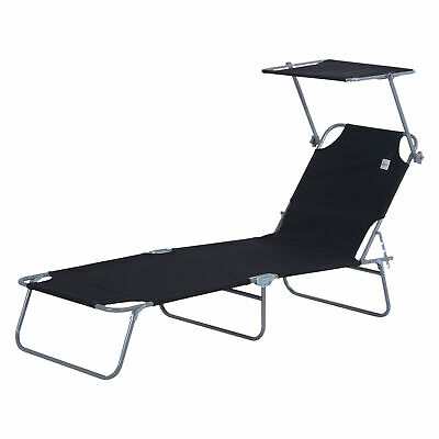Outsunny 2PC Recliner Outdoor Sun Lounger Height Adjustable w/ Top Canopy Cover