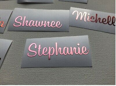 Rose Gold Metallic  Vinyl Names X 10 Wine Glass Decals Flutes Personalised