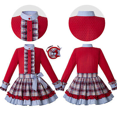 Spanish Kids Girls Red Blouse Tartan Dress Headband Bow Princess Ball Gown Party