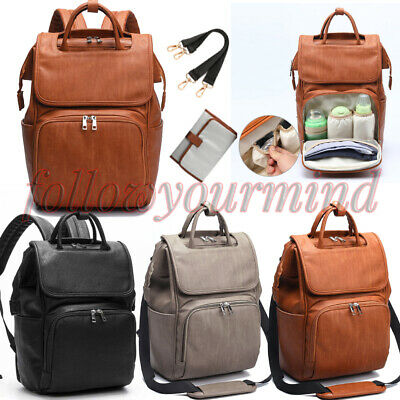 PU Leather Maternity Backpacks Baby Diaper Changing Pad Stroller Mummy Bag AU