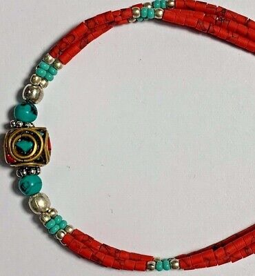 BEAUTIFUL MEDIEVAL BRACELET (1 gold-plated, red, light blue silver BEADS)